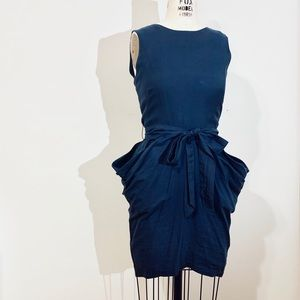 Navy Poplin Cowl Dress